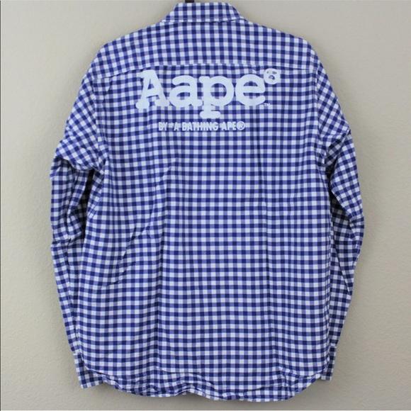 9c5a6d9a AAPE Shirts | Bape Button Down Polo Blue Checkered Sz L | Poshmark